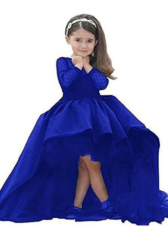 Scoop Neck Ball Gown Flower Girl Dresses Satin Sash Long Sleeves Asymmetrical