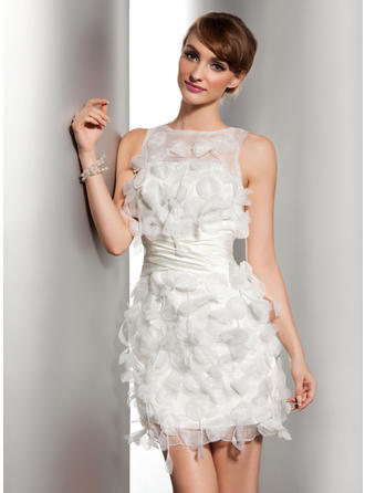 Sheath/Column Scoop Neck Short/Mini Satin Organza Wedding Dress With Ruffle Flower(s)