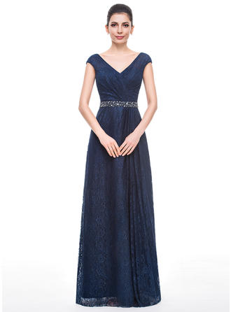 Lace Sleeveless Mother of the Bride Dresses V-neck A-Line/Princess Ruffle Beading Sequins Floor-Length