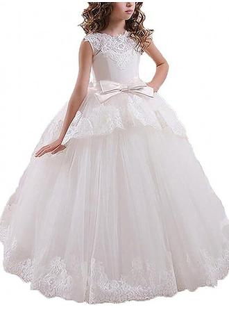 Newest Floor-length Ball Gown Flower Girl Dresses Scoop Neck Tulle Sleeveless
