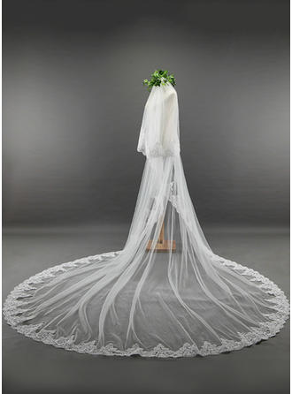 Two-tier Lace Applique Edge Cathedral Bridal Veils With Lace (006114023)