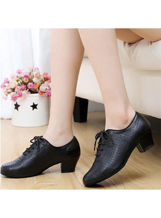 Women's Practice Flats Sneakers Real Leather Dance Shoes
