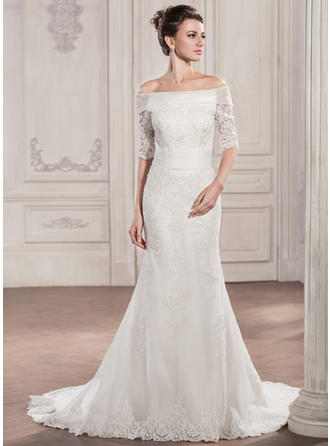 Magnificent Chapel Train Trumpet/Mermaid Wedding Dresses Off-The-Shoulder Tulle Lace