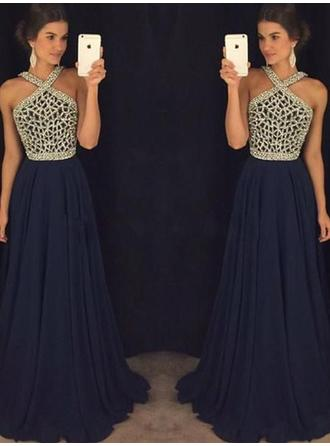 A-Line/Princess V-neck Floor-Length Evening Dress With Beading