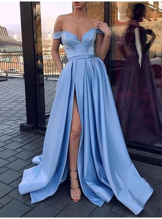 Satin Sleeveless A-Line/Princess Prom Dresses Off-the-Shoulder Ruffle Split Front Sweep Train (018218470)