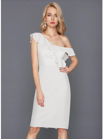 Sheath/Column One-Shoulder Jersey Sleeveless Knee-Length Cascading Ruffles Cocktail Dresses