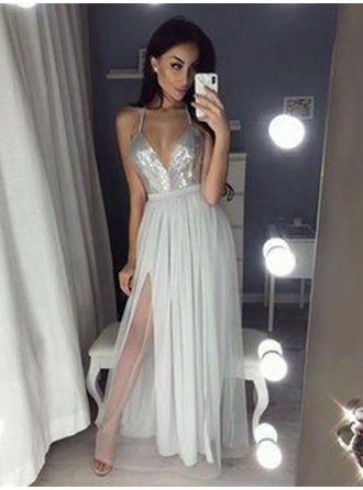 Delicate Chiffon Prom Dresses A-Line/Princess Floor-Length V-neck Sleeveless