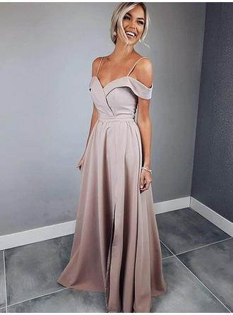Satin Sleeveless A-Line/Princess Prom Dresses Sweetheart Ruffle Floor-Length