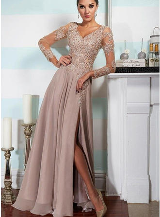 A-Line/Princess Floor-Length Evening Dresses V-neck Chiffon Long Sleeves
