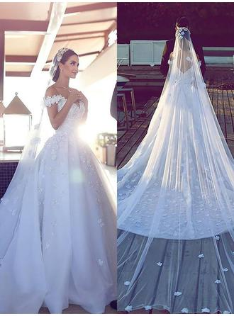 Princess Cathedral Train Ball-Gown Wedding Dresses Off-The-Shoulder Tulle Lace Sleeveless