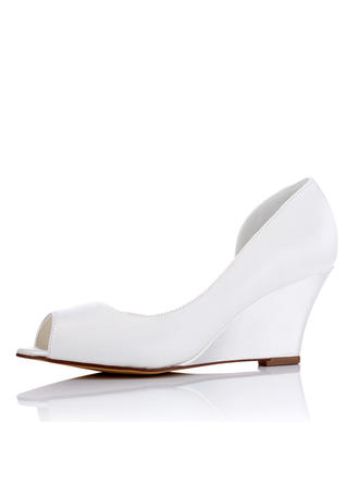 Women's Peep Toe Wedges Wedge Heel Silk Like Satin Wedding Shoes (047208664)