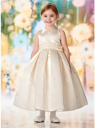 A-Line/Princess Scoop Neck Ankle-length Satin/Lace Sleeveless Flower Girl Dresses (010216424)