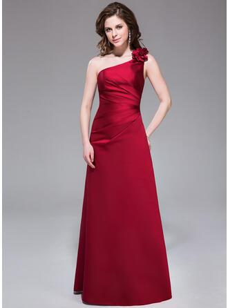 A-Line/Princess One-Shoulder Floor-Length Satin Bridesmaid Dress With Ruffle Flower(s)
