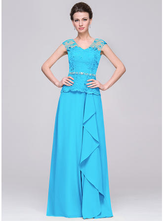 Chiffon Sleeveless Mother of the Bride Dresses V-neck A-Line/Princess Beading Cascading Ruffles Floor-Length