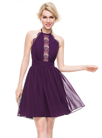 A-Line/Princess Halter Knee-Length Chiffon Homecoming Dresses