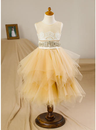 Beautiful Knee-length A-Line/Princess Flower Girl Dresses Scoop Neck Satin/Tulle Sleeveless