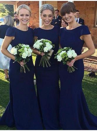 Sheath/Column Floor-Length Scoop Neck Short Sleeves Satin Bridesmaid Dresses