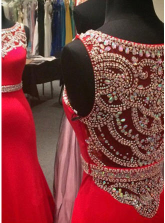 Trumpet/Mermaid Scoop Neck Floor-Length Jersey Prom Dress With Beading