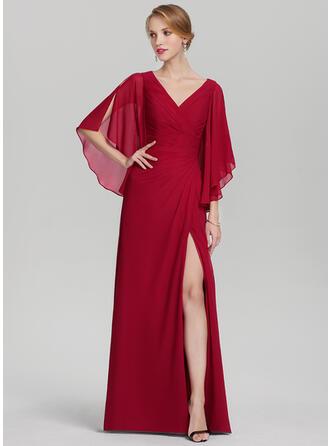 A-Linie/Princess-Linie V-Ausschnitt Bodenlang Chiffon Kleid für die Brautmutter mit Rüschen Schlitz Vorn