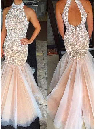 Trumpet/Mermaid Scoop Neck Tulle Sleeveless Sweep Train Evening Dresses