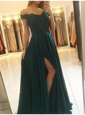 A-Line/Princess Off-the-Shoulder Chiffon Sleeveless Floor-Length Beading Split Front Evening Dresses