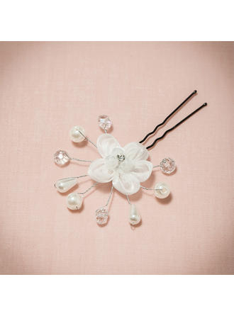 "Hairpins/Flowers & Feathers Wedding/Special Occasion/Casual/Outdoor/Party Rhinestone/Imitation Pearls/Net Yarn 2.76""(Approx.7cm) 1.18""(Approx.3cm) Headpieces"
