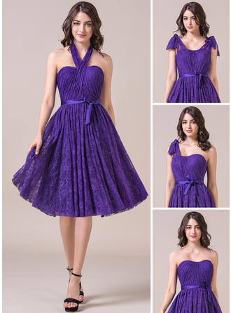Lace Sleeveless A-Line/Princess Bridesmaid Dresses Sweetheart Ruffle Bow(s) Knee-Length