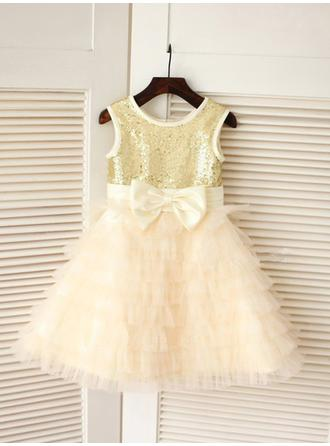 Luxurious A-Line/Princess Tulle/Sequined Flower Girl Dresses Knee-length Scoop Neck Sleeveless