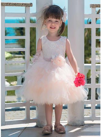 A-Line/Princess Scoop Neck Knee-length Tulle/Lace Sleeveless Flower Girl Dresses