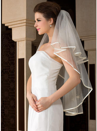 Fingertip Bridal Veils Tulle One-tier Angel cut/Waterfall/Cascade With Ribbon Edge Wedding Veils