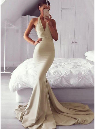 Trumpet/Mermaid Deep V Neck V Sweep Train Prom Dress