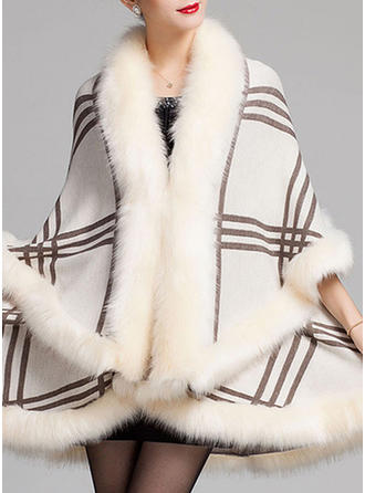 Wrap Fashion Faux Fur Black Burgundy Grape White Steel Grey Wraps (013142931)