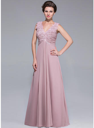 Chiffon Sleeveless Mother of the Bride Dresses V-neck A-Line/Princess Ruffle Lace Beading Sequins Floor-Length