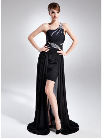 A-Line/Princess Chiffon Sleeveless One-Shoulder Asymmetrical Zipper Up Mother of the Bride Dresses