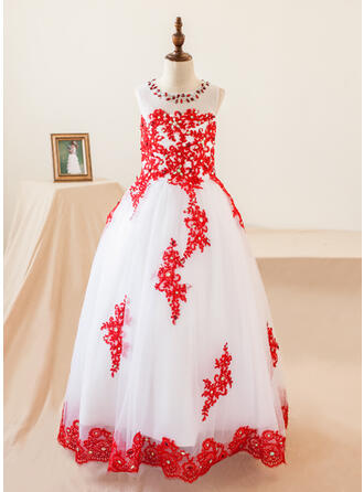 Ball Gown Floor-length Flower Girl Dress - Organza Sleeveless Scoop Neck With Appliques/Rhinestone