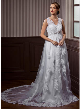 Beautiful Chapel Train A-Line/Princess Wedding Dresses Sweetheart Tulle Sleeveless