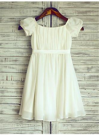 A-Line/Princess Square Neckline Tea-length With Ruffles Chiffon Flower Girl Dresses (010211899)
