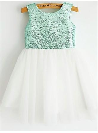 Scoop Neck A-Line/Princess Flower Girl Dresses Chiffon/Sequined Pleated Sleeveless Tea-length