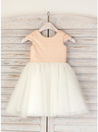 Chic Knee-length A-Line/Princess Flower Girl Dresses Scoop Neck Tulle/Sequined Sleeveless