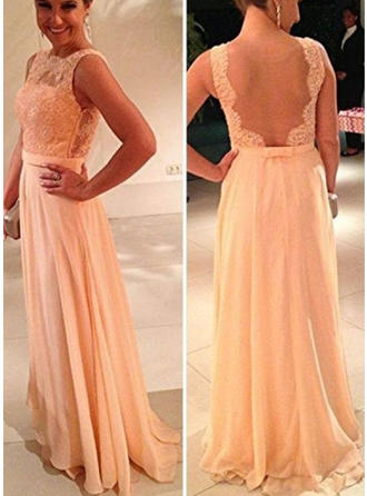 A-Line/Princess Chiffon Scoop Neck Sleeveless Evening Dresses