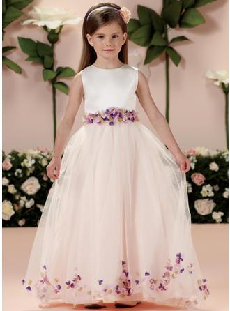 Vestidos princesa/ Formato A Decote redondo Longos Cetim/Tule Sem magas Vestidos de daminha