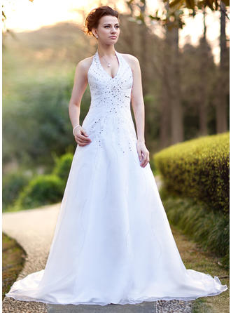 Flattering Chapel Train A-Line/Princess Wedding Dresses Halter Satin Organza Sleeveless