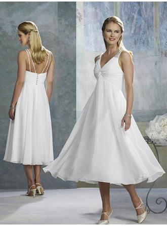 Empire V-neck Tea-Length Wedding Dresses With Ruffle Beading