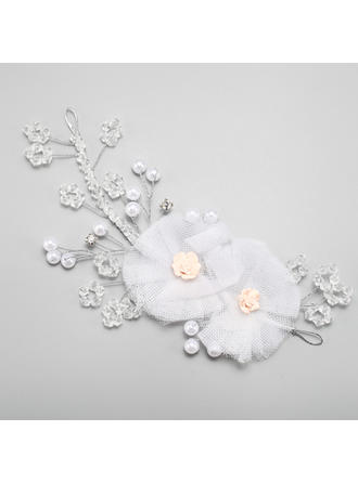 "Flowers & Feathers Wedding/Special Occasion Alloy/Imitation Pearls/Silk Flower/Soft ceramics 4.33""(Approx.11cm) 0.47""(Approx.1.2cm) Headpieces"