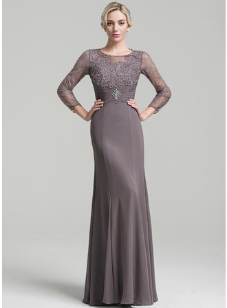 Sheath/Column Chiffon Long Sleeves Scoop Neck Floor-Length Zipper Up Mother of the Bride Dresses