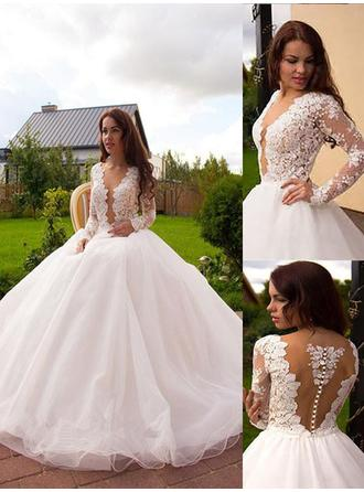 Delicate Court Train Ball-Gown Wedding Dresses Deep V Neck Tulle Long Sleeves