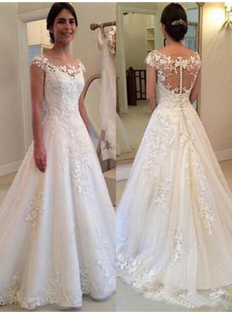 Scoop A-Line/Princess Wedding Dresses Tulle Lace Sleeveless Sweep Train