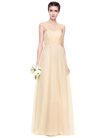 Tulle Sleeveless A-Line/Princess Bridesmaid Dresses Sweetheart Ruffle Floor-Length