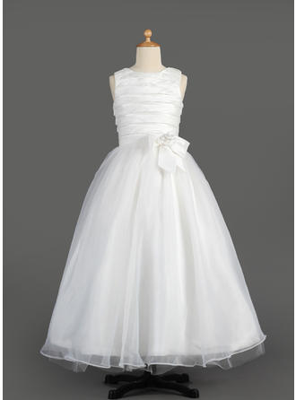 A-Line/Princess Scoop Neck Floor-length With Ruffles/Flower(s)/Bow(s) Taffeta/Organza Flower Girl Dress