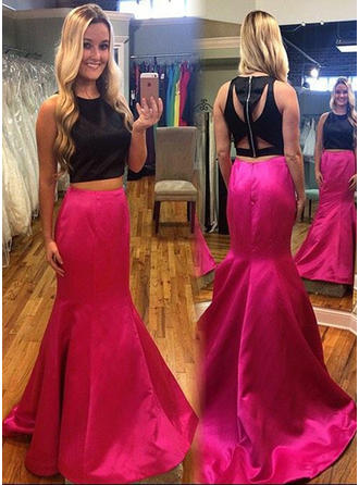 Chic Satin Trumpet/Mermaid Satin Scoop Neck Prom Dresses